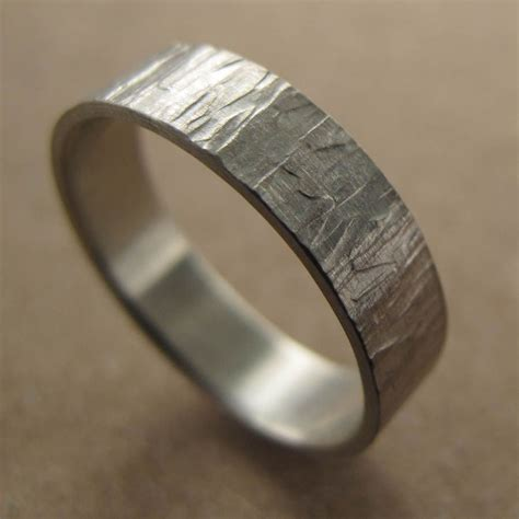 mens silver wood textured wedding ring solid 5x1 25mm
