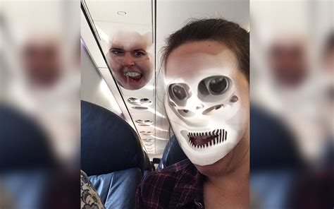 traveler face swapped   airplane overhead bin