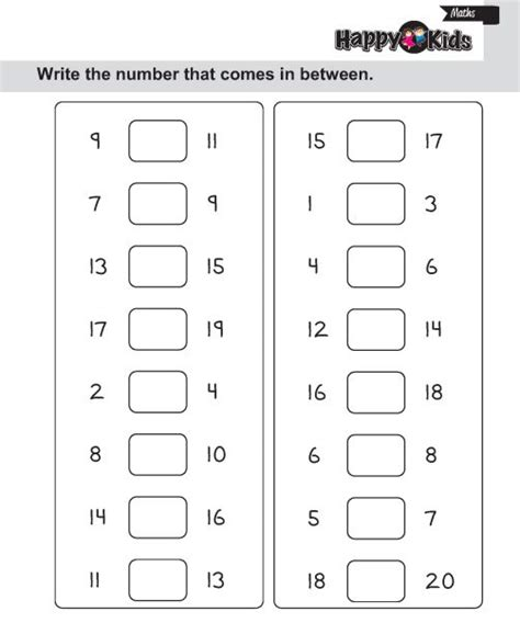 kindergarten maths number in between after and before