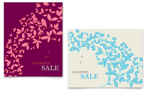 spring leaves sale poster template word publisher