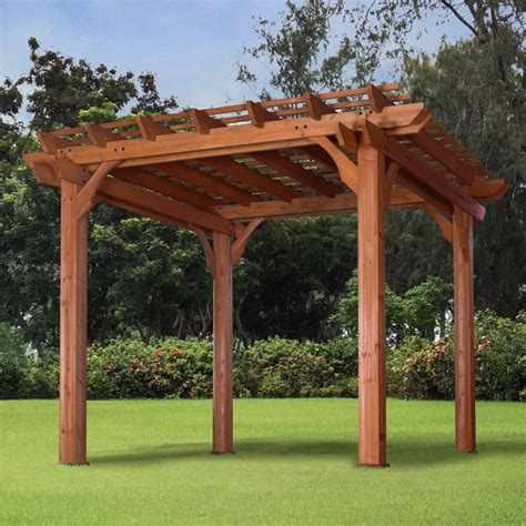 Wood Cedar Pergola Brown Outdoor Pergola Backyard Furniture Garden Patio Pergola