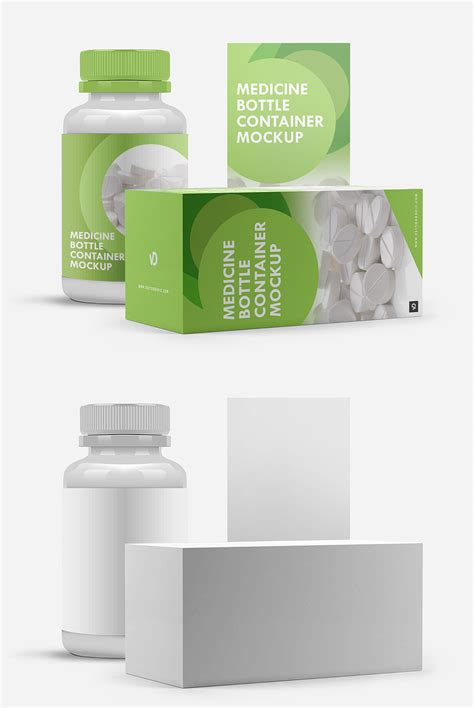 Highly detailed mockups of glass and plastic bottles with different fillings. Free Medicine Bottle Container Mockup ~ Creativetacos