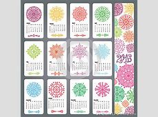 Calendar 2016Colored Snowflakes Shapes,mandala Stock