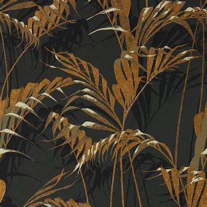 Sanderson Glasshouse Palm Gold Charcoal Wallpapers Wallpaperwebstore