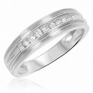 3 8 carat tw diamond his and hers wedding rings 10k With his and hers white gold wedding rings
