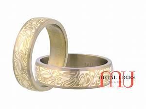 Titanium 18ct White Gold And Silver Mokume Gane Mens