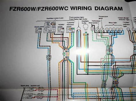 yamaha oem factory color wiring diagram schematic 1989 fzr600w fzr600 w wc ebay