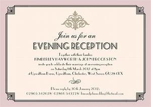 pastel art deco evening reception invitation from gbp085 each With wedding invitations for evening reception