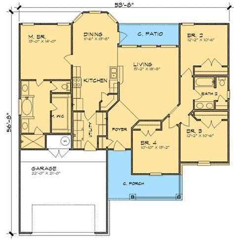 split ranch floor plans split bedroom ranch house plan 36837jg 1st floor