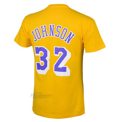 Los Angeles Lakers Magic Johnson Yellow Name and Number ...