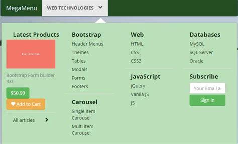 bootstrap mega menu template   styles