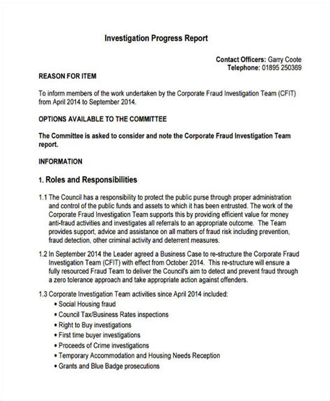 investigation report samples  examples
