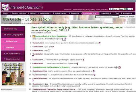 capitalization eighth  grade english language arts