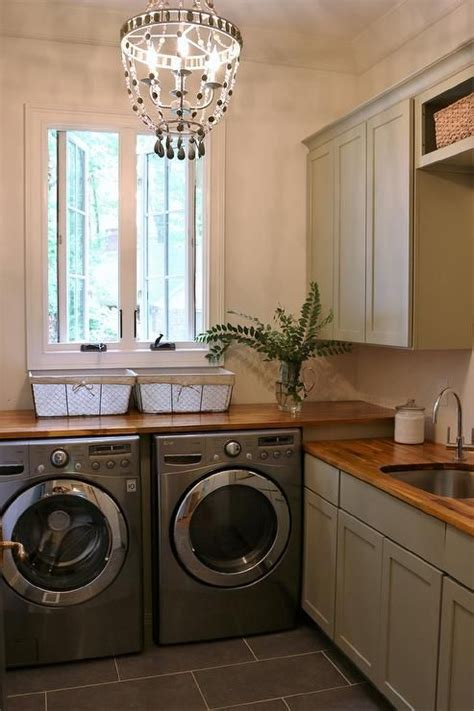 stunning gray cottage laundry room  equipped