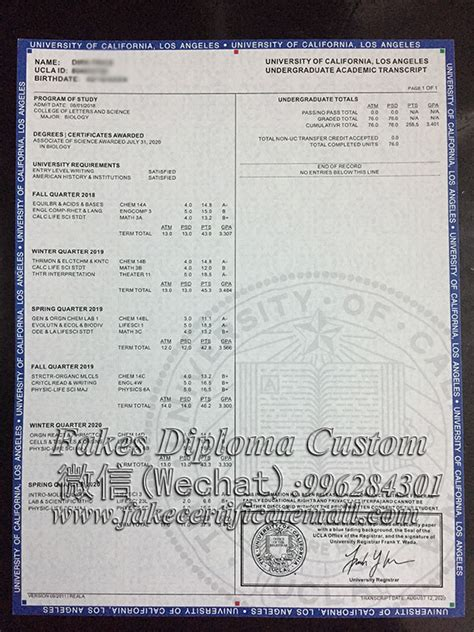 university  california los angeles transcript fake