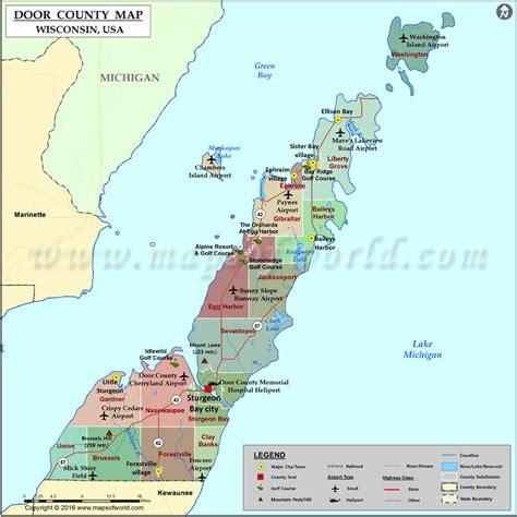 door county map wisconsin