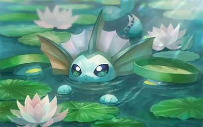 Vaporeon Pokemon Lotad Swimming Desktop Wallpapers Eevee