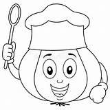 Chef Hat Character Ajo Kok Coloring Cuoco Avec Garlic Menu Cartoon Unico Aglio Sveglio Coloritura Carattere Dell Vide Ail Kleurende sketch template
