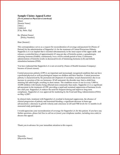 insurance appeal letter reconsideration letter for insurance