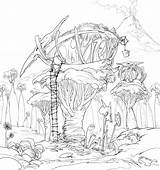 Coloring Tree Pages Magic Fairy Treehouse Printable Houses Sheet Concept Finished Lineart Dreamworks Template sketch template
