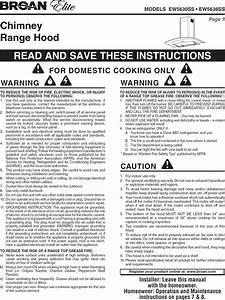 Broan Ew5630ss User Manual Range Hood Manuals And Guides