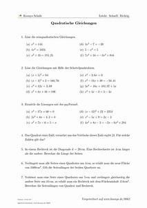 Nullstellen Berechnen Pq Formel Aufgaben : aufgaben quadratische gleichungen mit l sungen koonys schule 0062 ~ Themetempest.com Abrechnung
