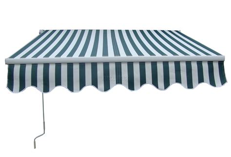 patio manual retractable awning canopy sun shade shelter green white