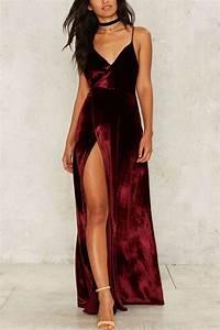 Dark Red Spaghetti Straps Slit Sexy Maxi Dress #030171