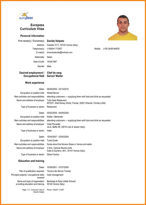 Best Cv Models by Cv Template Europe Sle Resume Format Cv Exles