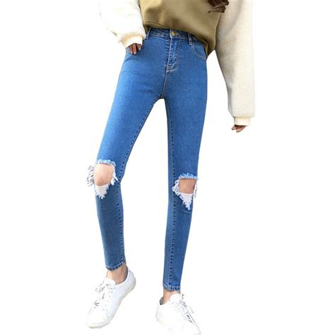retro waist high elastic jeans women  knee hole