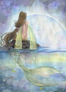 Fairy Art Print Emerald Mermaid On Rock Irish By Sarambutcher