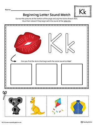 color beginning with k early childhood alphabet worksheets myteachingstation