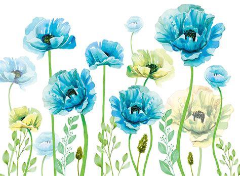Фотообої Блакитні маки купити на стіну • Еко Шпалери