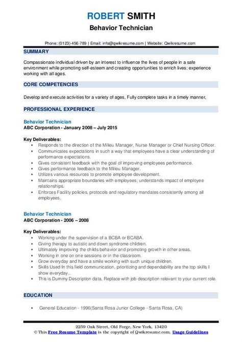 behavior technician resume samples qwikresume