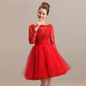 short red wedding dress with long sleeves sang maestro With long red dresses for weddings