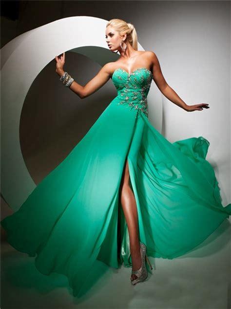 elegant sweetheart long emerald green chiffon evening prom dress  beading