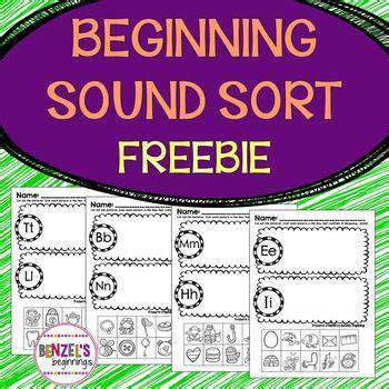 beginning sound sort freebie  images beginning
