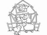 Coloring Farm Animals Crafts Looking Pigs Activities Diy Window Through sketch template