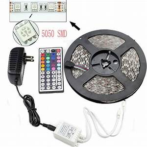 Led Stripes : 5m smd rgb 5050 waterproof led strip light 300 44 key remote 12v supply power ebay ~ Watch28wear.com Haus und Dekorationen