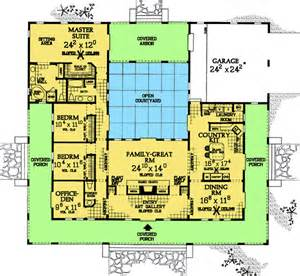 courtyard floor plans plan w81383w central courtyard home plan e architectural design