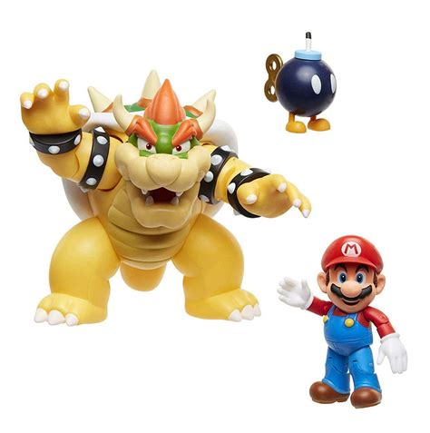 World Of Nintendo Action Figure 3 Pack Mario Vs Bowser