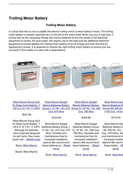 Boat Battery For Trolling Motor by Trolling Motor Battery