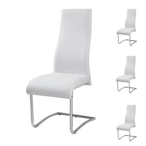 chaise en cuir blanc quatuor de chaises rome univers salle à manger