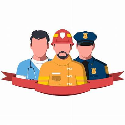 Rescue Paramedic Firefighter Vector Workers Police Policeman
