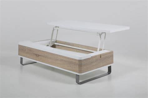 bureau design contemporain table basse design réglable en bois laqué brillant blanc