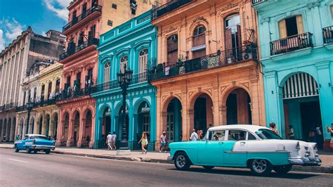 Cuban Background Colorful With Vintage Cars Wallpaper Wallpaper
