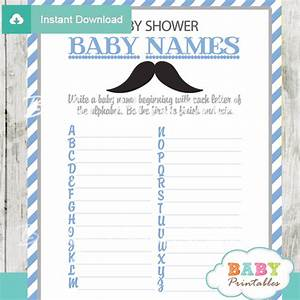 Blue Grey Mustache Baby Shower Games - D113 - Baby Printables