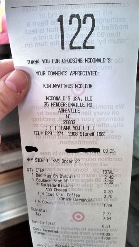 mcdonald s receipt on target mildly interesting