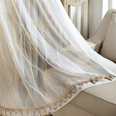 beige linen curtains blue and gold lines pattern beige linen sheer curtains panels