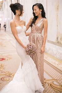 The gallery for gt rose gold sequin bridesmaid dresses for Sequined wedding dress